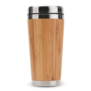 Bamboo Coffee Cup Stainless Steel Coffee Travel Mug With Leak-Proof Cover Insulated Coffee Accompanying Cup Reusable Cup