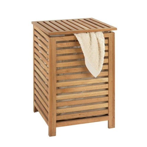 Hamper with Top Natural Wood
