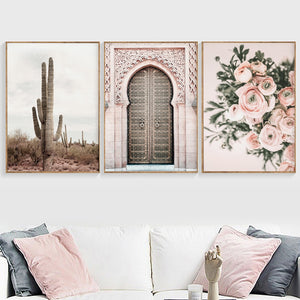 Boho Poster Desert Landscape Canvas Painting Door flower Print Decoration Wall Pictures for Living Room Moroccan Decor Unframed
