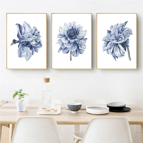 Watercolor Painting Farmhouse Bedroom Wall Decor Boho Dahlia Flower Canvas Art Posters and Prints Navy Blue Wall Art Pictures