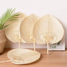 Load image into Gallery viewer, Pushan Arts Hand Made Fan Peach Shaped Bamboo Fan Summer Cool Air Fan DIY Characteristic