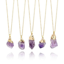 Load image into Gallery viewer, 1Pc Natural Purple Amethyst Gemstone Pendant Quartz Crystal Point Healing Stone Necklace Long Chain For Jewelry DIY Decor