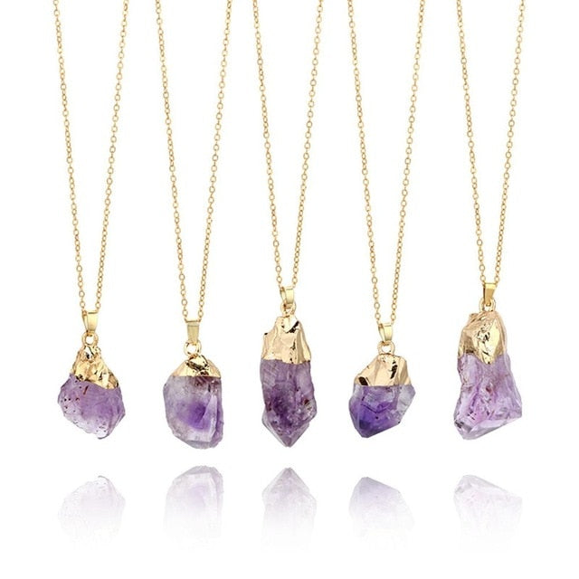 1Pc Natural Purple Amethyst Gemstone Pendant Quartz Crystal Point Healing Stone Necklace Long Chain For Jewelry DIY Decor