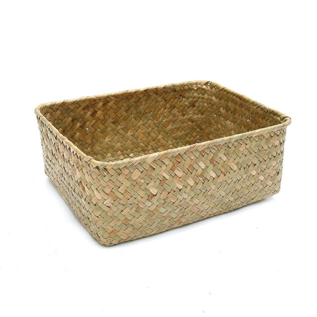 Handmade Straw Dried Flower Fruit Pot Basket Rattan Box Candy Earphone Organizer Seagrass Belly Garden Decor Pot Planter Basket