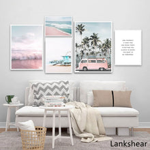 Load image into Gallery viewer, Ocean Landscape Canvas Poster Nordic Style Beach Pink Bus Wall Art Print Painting Decoration Picture Scandinavian Home Decor