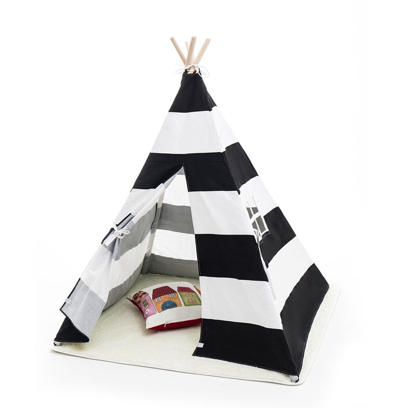 Large Unbleached Canvas Original Striped Teepee Kids Teepee with Color Flag Play Tent House Children Tipi Tee Pee Tent