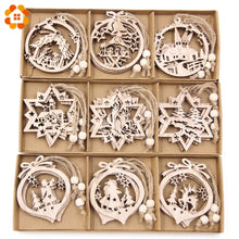 Load image into Gallery viewer, 12PCS/Box Vintage Hollow Christmas Wooden Pendants Ornaments Christmas Party Decorations Christmas Tree Ornaments Hanging Gifts