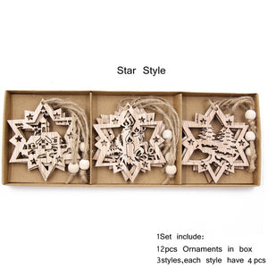 12PCS/Box Vintage Hollow Christmas Wooden Pendants Ornaments Christmas Party Decorations Christmas Tree Ornaments Hanging Gifts
