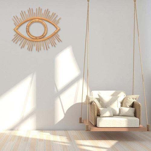 Rattan Wall Mirror Decoration Pendant Creative Eye Boho Nordic Natural Vine Handmade Mirror Frame Living Room Bedroom Decoration