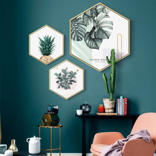 Load image into Gallery viewer, Nordic Hexagon Green Plant Canvas Painting HD Cactus Pineapple Wall Pictures For Living Room Fashion Home Decor Poster Wall Art