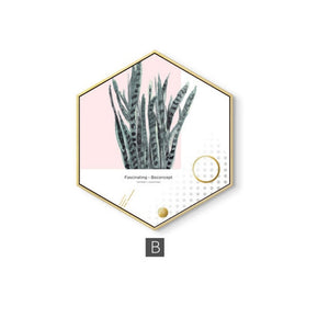 Nordic Hexagon Green Plant Canvas Painting HD Cactus Pineapple Wall Pictures For Living Room Fashion Home Decor Poster Wall Art