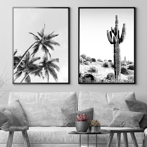Black White Ocean Palm Cactus Canvas Painting Coastal Wall Art Posters and Prints Nordic Decoration Wall Picture for Living Room