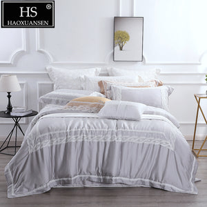 High-end Queen King Size Grey 4 Piece Bedding Sets Lace Princess Organic Natural 100% Tencel Lyocell Duvet Cover Bed Sheet Set