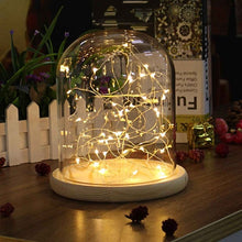 Load image into Gallery viewer, Glass Dome Bell Jar Cloche Display Wooden Base 20 LED Fairy String Light Home Decor Bedroom Desk Night Light for Christmas Gift