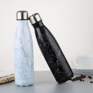 Stainless Steel Water Bottle Vacuum Insulated Flask Thermal Sport Chilly Hot Cold Cup Creative Mug Marble Head Cup 500ML