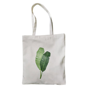 Folding Shopping Bag Fashion Women Canvas Tote Bag Printing Banana Leaf Shopper Handle eco Shopping Bags bolsa de compras #F