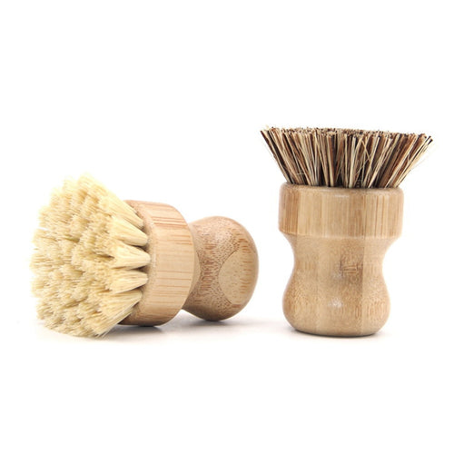 Kitchen Cleaning Brush Sisal Palm Bamboo Short Handle Round Dish Brush Bowl Pot Brush High Quality Durable Cleaning Brush