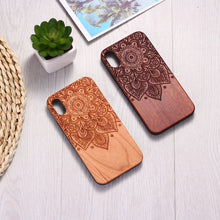 Load image into Gallery viewer, Engraved Natural Wood Case Coque Vintage Mandala for iPhone 7 8 8Plus 8Plus 6 6S SE XR XS Max 11 Pro Max Cases Cover Fundas Capa