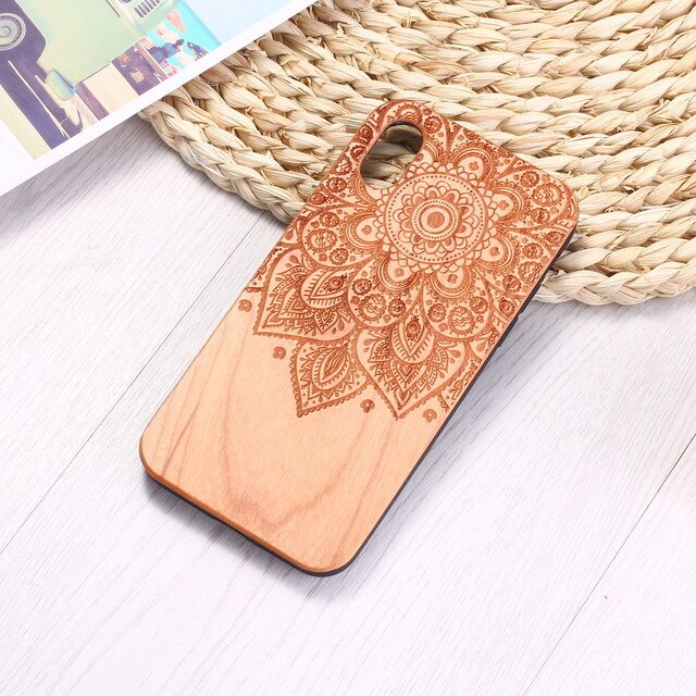 Engraved Natural Wood Case Coque Vintage Mandala for iPhone 7 8 8Plus 8Plus 6 6S SE XR XS Max 11 Pro Max Cases Cover Fundas Capa