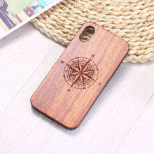 Load image into Gallery viewer, For iPhone 6 6S 6Plus 7 7Plus 8 8Plus XR X XS Max 11 Pro Max Engraved Compass Travel Spirit Heart Floral Wood Phone Case Coque