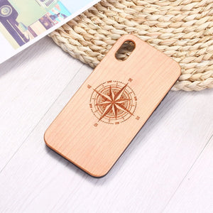 For iPhone 6 6S 6Plus 7 7Plus 8 8Plus XR X XS Max 11 Pro Max Engraved Compass Travel Spirit Heart Floral Wood Phone Case Coque