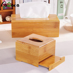 Bamboo Rectangular Tissue Box Holder Storage Paper Box Tissue Box Cover Car Wood Napkins Holder Case Organizer Home Decoration