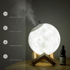 ELOOLE 880ml Moon Aroma Humidifier Essential Oil Diffuser Air Purifier Ultrasonic Mist Humidifier For Home&Office Aromatherapy