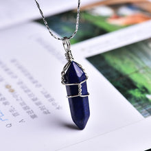 Load image into Gallery viewer, 1PC Natural Crystal Mineral Ornament Amethyst Crystal Point Pendant Couple Pendant Necklace Pendant DIY Gift Jewelry