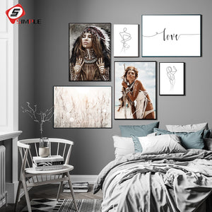 Wild Boho Woman Grass Reeds Poster Nordic Canvas Wall Art Print Nature Landscape Painting Decorative Picture Lady Line Art Decor