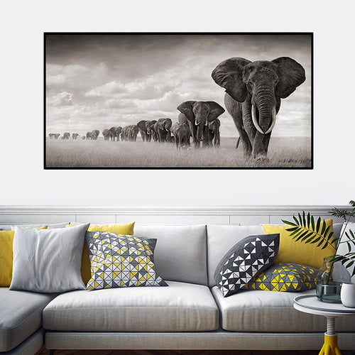 OUCAG  Africa Elephants Cuadros Canvas Painting Wild Animal Scandinavia Posters and Prints Wall Art Pictures For Living Room