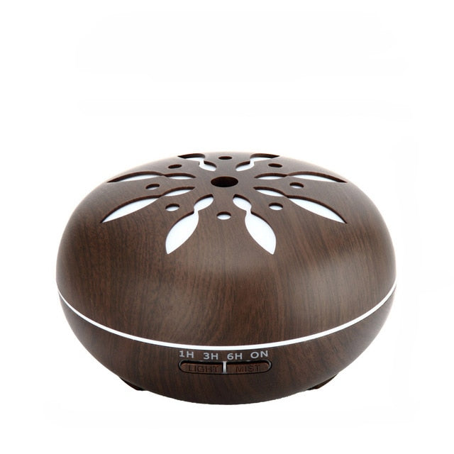 500ML Aromatherapy Essential Oil Diffuser Colorful LED Lights Wood Grain Aroma Diffuser Ultrasonic Cool Mist Air Humidifier