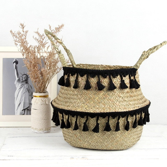Seagrass Woven Storage Basket Plant Wicker Hanging Baskets Garden Flower Vase Potted Foldable Pot with Handle Storage Basket