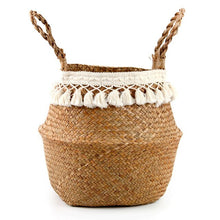 Load image into Gallery viewer, Seagrass Woven Storage Basket Plant Wicker Hanging Baskets Garden Flower Vase Potted Foldable Pot with Handle Storage Basket