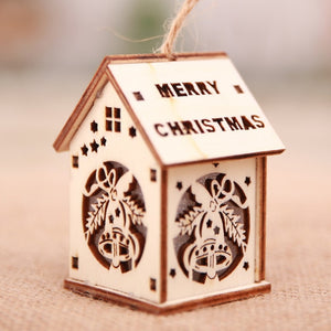 LED Light Wooden House Luminous Christmas Decoration for Home Christmas Tree Hanging Ornaments Xmas Festival Holiday Decor Gifts