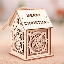 Load image into Gallery viewer, LED Light Wooden House Luminous Christmas Decoration for Home Christmas Tree Hanging Ornaments Xmas Festival Holiday Decor Gifts