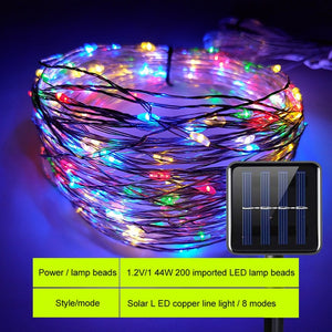 SUNYIMA Solar LED Lawn Lamp Outdoor waterproof 22m Copper Wire String Lights For Holiday Party Christmas lighting Solar Garden