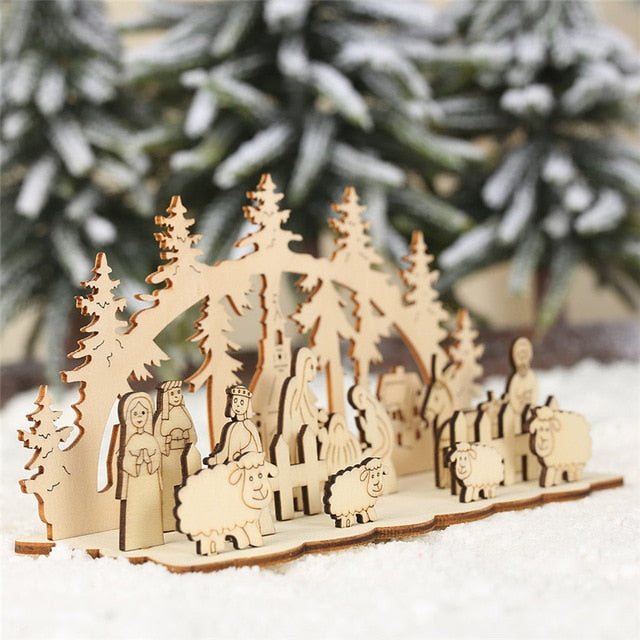 DIY Christmas Wooden Toy Xmas Funny Party Desktop Decoration Christmas Wooden Ornaments Three-dimensional Kids Toy Decoration