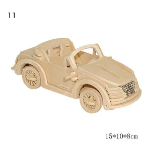 NEW 3D Natural DIY Wooden Toys Car Airplane Puzzle Game Children hobby Model Building Educational Wood Toy Gift for children