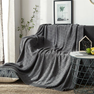 Cotton Blanket Chunky Knit Blanket Sofa Blanket Office Nap Blanket Towel Summer Air Conditioning Blankets for Beds