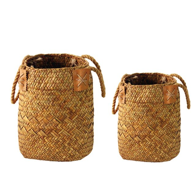 2 Pcs/Set Natural Seagrass Woven Flower Basket Pot Vase Laundry Baskets Home Storage Baskets Organizer With Handle Decoration
