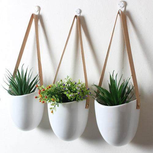 3pcs/set Nordic Style Ceramic Flower Pot Plant Decoration Stand Hanging Planter Home Corridor Balcony Wall Hanging Flower Pot