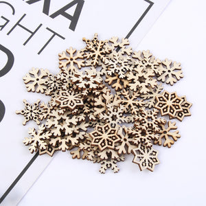 50Pcs/Set Mixed Hollow Snowflake Nature Wooden Scrapbooking Art Collection Craft for Handmade Accessory Sewing Home Decoration