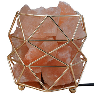 HLZS-Polygonal Wrought Iron Salt Lamp Home Health Table Lamp Night Light Salt Lamp-Eu Plug