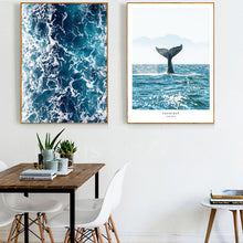 Load image into Gallery viewer, Whale Tail Posters and Prints Seascape Nordic Ocean Wall Art Ocean Waves Canvas Painting Modern Pictures for Living Room Decor