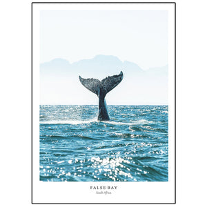 Whale Tail Posters and Prints Seascape Nordic Ocean Wall Art Ocean Waves Canvas Painting Modern Pictures for Living Room Decor