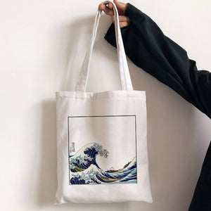Japan Wave Fun Print Casual Large Capacity Canvas Bag Female Shoulder Bag Fashion Harajuku Letter Ulzzang Shopping Bags Tote