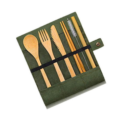 1 set Bamboo Cutlery Set Bamboo Knife Fork Spoon Thick Cloth Bag Travel Creative Portable Bamboo Cloth Tableware
