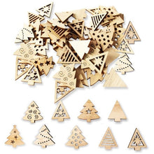 Load image into Gallery viewer, 50pcs Wooden Christmas Snowflakes DIY Christmas Decorations For Home Mini Tree Ornaments Xmas Gift Happy New Year 2020 Decor