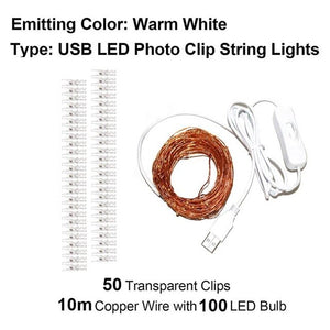 2M/5M/10M Photo Clip USB LED String Fairy Light String Copper Wire Party Wedding Xmas Photo Cards Decor light