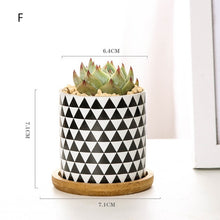 Load image into Gallery viewer, Ceramic Black White Flower Pot Bonsai Small Pots for Flowers Succulent Planter Garden Balcony Decoration FlowerPot